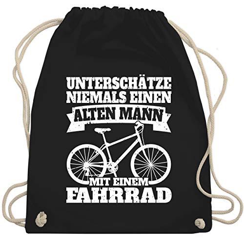 Shirtracer Radsport - Unterschätze niemals einen alten Mann mit einem Fahrrad - weiß - Unisize - Schwarz - Hobby - WM110 - Turnbeutel und Stoffbeutel aus Baumwolle