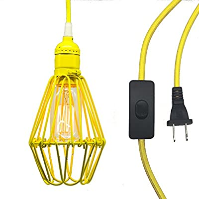 Y-Nut 15' Hanging Light Socket With Plug, 15ft Smal Ceiling Pendant Light With Cage and Switch, E26/E27 Socket, Vintage Industrial Style, PDT-009