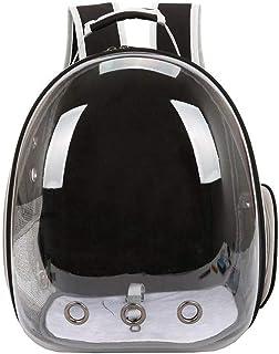 حقيبة ظهر شفافة وجيدة التهوية لحمل ونقل الحيوانات الاليفة مثل الكلاب والقطط في الخارج او عند السفر لون اسود