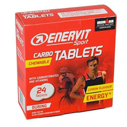 ENERVIT SPORT Chewable Carbo Tablets | Kohlenhydrat Kautabletten mit Mineralsalzen | Salztabletten Sport | nur 15kcal pro Tablette | Zitrone | 24x4g Tabletten