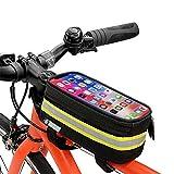 Bolsa para cuadro de bicicleta, bolsa impermeable para bicicleta, pantalla táctil de TPU para teléfonos inteligentes de hasta 6.5 pulgadas, soporte para teléfono celular para bicicleta
