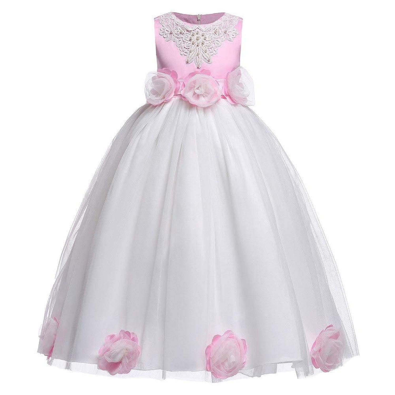ふわふ ドレス ラブリーファンシージュニアフラワーガールドレスノースリーブフローラルローズチュールプリンセスドレス女の子チュチュボウワンピースウェディング誕生日パーティードレスキッズウエディングパフィーボールガウン 結婚式 出産祝い お遊戯会 (色 : White+Pink, サイズ : 120)