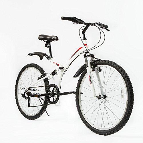 "zoyo 26"" Folding Mountain Bike Foldable Hybrid 7 Speeds & Full Suspension for Adults Commuter Mountain Bike, Black/White (White)"