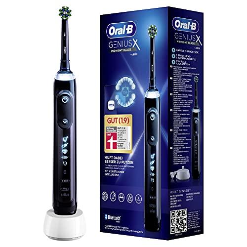 Oral-B Genius X Elektrische Zahnbürste/Electric Toothbrush mit künstlicher Intelligenz & Putztechnikerkennung, visuelle Andruckkontrolle, 6 Putzmodi inkl. Sensitiv, Timer, schwarz