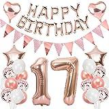 Ouceanwin 17 Ans Anniversaire Décorations Or Rose Ballons Deco Anniversaire pour Filles, Guirlande Happy Birthday Ballons, Géants Ballons Numéro 17, Ballons Confettis Rose Or Fournitures de Fête Kit