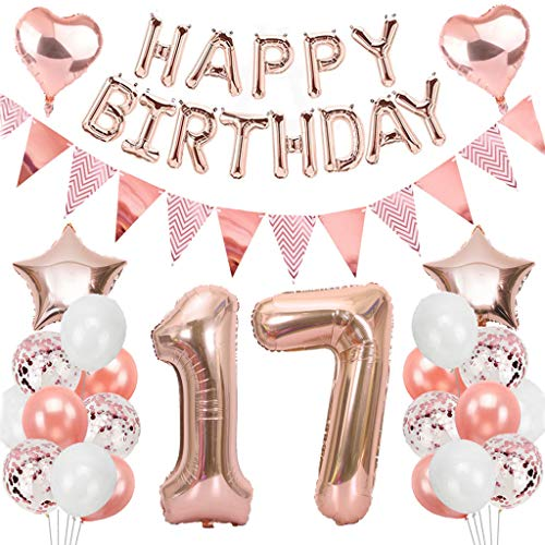 Ouceanwin 17. Geburtstag Dekoration Rosegold Geburtstag Party Deko Set, Riesen Folienballons Zahl 17, Happy Birthday Girlande Ballons, Wimpelkette Banner, 17th Geburtstagsdeko für Mädchen Jungen