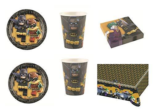 """Lote de Cubiertos Infantiles""""Batman"""" (16 Vasos, 16 Platos, 20 Servilletas y 1 Mantel.Vajillas y Complementos. Juguetes para Fiestas de Cumpleaños, Bodas, Bautizos y Comuniones."""