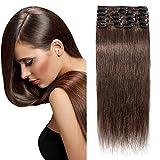 Hair Extension Clip Extension a Clip Cheveux Naturel Rajout Vrai 100% Cheveux Humain Lisse - 8 Bandes pour Cheveux Fin (#04 MARRON CHOCOLAT, 20cm-45g)