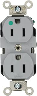 Leviton 8200-GY 15-Amp, 125-Volt, Extra Heavy Duty Hospital Grade, Duplex Receptacle, Straight Blade, Self Grounding, Back and Side Wired, Gray