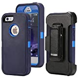 Defense Case for iPhone 5 5S / iPhone SE(2016 Edtion),[Impact Screen Protector][Heavy Duty][Drop Protection] Tough Rugged TPU Hybrid Hard Shell Case for iPhone SE 5S Blue