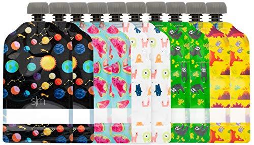 Imagen para Simple Modern Joey Bolsitas de Alimento Reutilizables Para Bebés y Niños con Doble Cremallera Bolsas de Comida Paquete de 10 bolsas de 150ml Recargables Congelables y Aptos para Lavavajillas Surtido 2