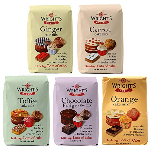 Wright's Baking Cake Mix Selection Pack - Ginger, Carrot, Toffee, Chocolate Fudge & Orange (One of Each 500g Pack)