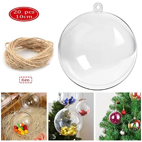 UMIPUBO 20 PZ Palle di Natale Pallina Riutilizzabile Trasparente da Riempire Sfera Plastica Acrilico...