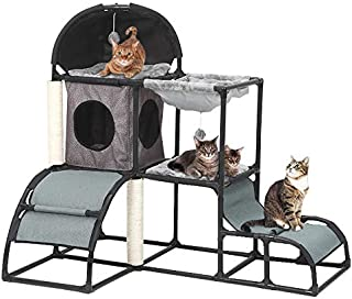 Yunhoo Luxury Multi-Level Cat Tree Cat Tower with cat Scratching Post,Cat Bed, Cat Climber, Peek Holes & Dangling Toy for Kittens, Cats and Pets