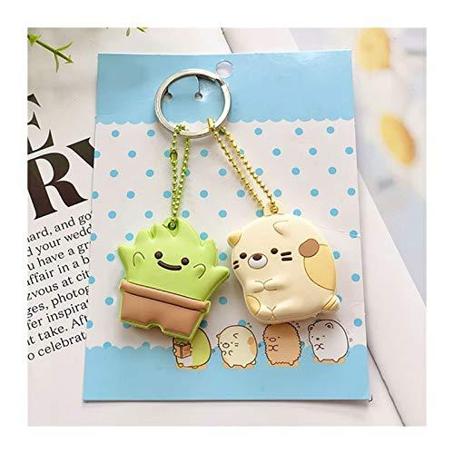 XIAOXINGXING Linda tapa de llave para llaves, anillos, identificador de llaves, organizador de etiquetas de silicona con cadena de bola (color dorado)