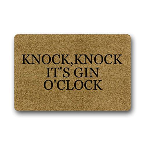 Eureya Fußmatte für Innen/Außen - Küchenteppich - Gummimatte - Raumgestaltung,Knock,knock It's Gin O'clock,40x60cm