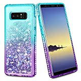 Wollony for Galaxy Note 8 Case Shiny Bling Diamond Edge Gradient Glitter Liquid Girly Clear Cover for Women Girls Durable Hybrid Shockproof Case for Samsung Galaxy Note 8 Lake Purple