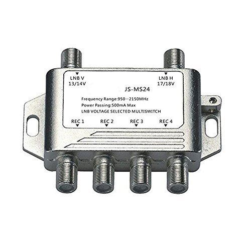 Buwico?4 Way Multi-Switch Satellite Switch Receiver Dish V Aerial Splitter Video Splitter Connector TV For Satellite Receiver LNB by Buwico