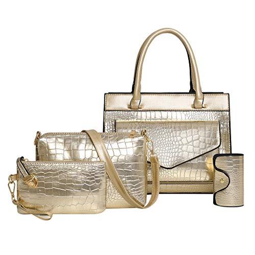 Umhängetasche Damen Schwarz 4pcs neue Muster solide Handtasche + Umhängetasche + Messenger Bag + Card-Paket Gold One Size