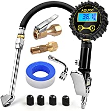 AZUNO Digital Tire Inflator with Pressure Gauge, 200 PSI (0.1 Res) w/LED Flashlight, Heavy Duty Air Compressor Accessories 7pcs Set, w/Lock on Air Chuck, Dual Head Chuck and 90° Tire Valve