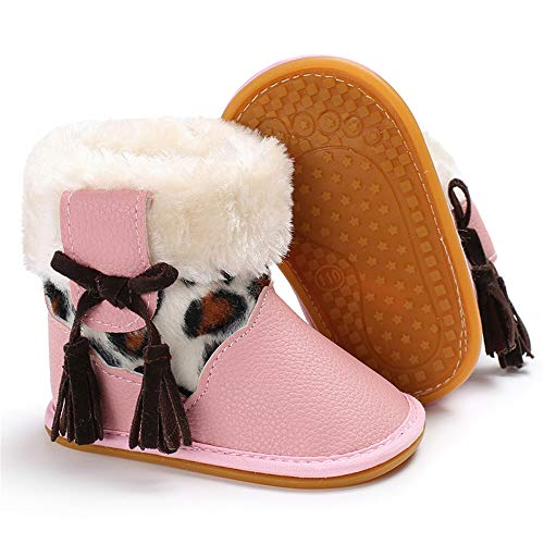 HsdsBebe Infant Baby Girls Premium Snow Boots Pu Leather Rubber Sole Anti-Slip Toddler Waterproof Outdoor First Walker Warm Winter Shoes(Tassel Pink,2)
