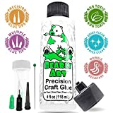 Bearly Art Precision Craft Glue 4fl oz- Dries Clear - Multiple Size Tips Included - Non-Toxic - Metal Tip - Wrinkle Resistant - Flexible and Crack Resistant - Strong Hold Adhesive - Made in USA