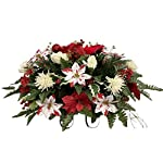 Silk Florals & Frills Poinsettia Cemetery Arrangement, Poinsettia Grave Flowers, Christmas Cemetery for Grave Vase