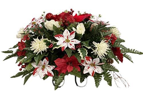 SC3205 Cemetery Flower, Christmas Cemetery Arrangement , Headstone Saddle, Grave, Tombstone Arrangement, Cemetery Flowers