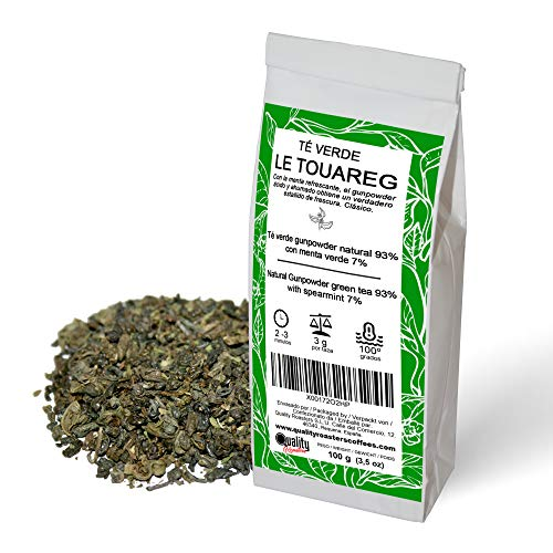 Grüner Tee, Le Touareg. Natürlicher grüner Tee Gunpowder, 93%. Mit Minze, 7%. Der klassische Geschmack mit einem wahren Frischekick. Antioxidant. 100g