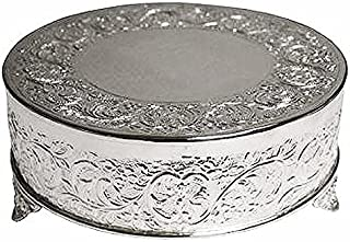 BalsaCircle 14-Inch Silver Plated Round Embossed Wedding Cake Stand - Birthday Party Dessert Display Pedestal Centerpiece Riser