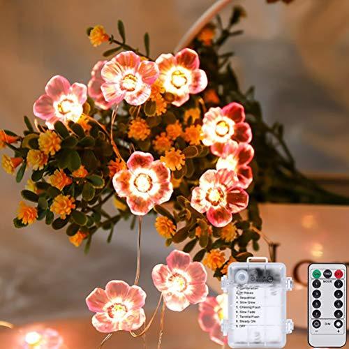 Kagodri Rosa Cherry Blossom llevó luces de secuencia, 30 luces LED de cadena de flores, luces decorativas para interiores y exteriores