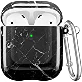 Maxjoy Compatible AirPods Case Cover, Cute Hard Case Protective Carrying Case Shockproof Cover with Keychain Compatible with Apple AirPods Charging Case 2&1 for Girls Boys Women Men, Marble Black
