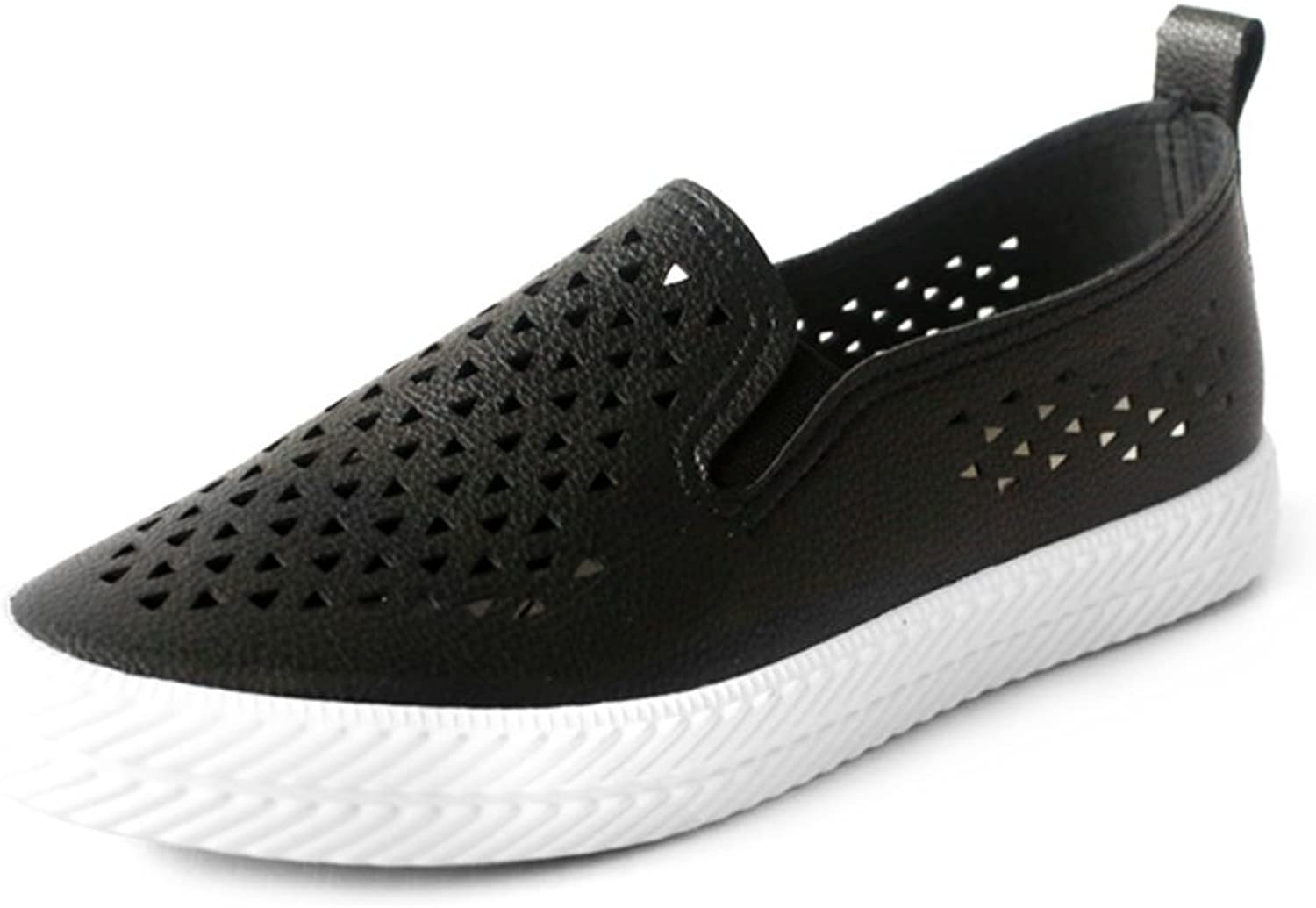 Hollow microfiber leather shoes Breathable wild casual loafers Low to help a pedal lazy shoes tunnel