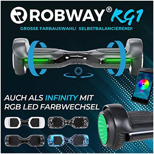 Robway Rg1 Hoverboard - Das Original - Self e Balance - 2 x 350 Watt Motoren – Led 16 Mio Farben - Bluetooth – App - Lithium Akku (Schwarz)