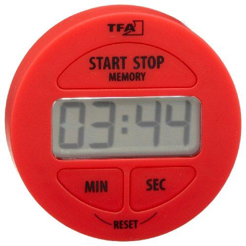 TFA Dostmann Digitaler Timer und Stoppuhr,38.2022.05, Memory Funktion, eifnache Bedienung, magnetisch, Zeit bis 99min 59 sek, rot