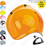 VRacing Visiera Casco 3 Bottoni Universale Casco jet e integrale Visiera Bubble a Bolla Custom retrò Vintage con meccanismo 3 altezze regolabile flip up incluso (Arancione)