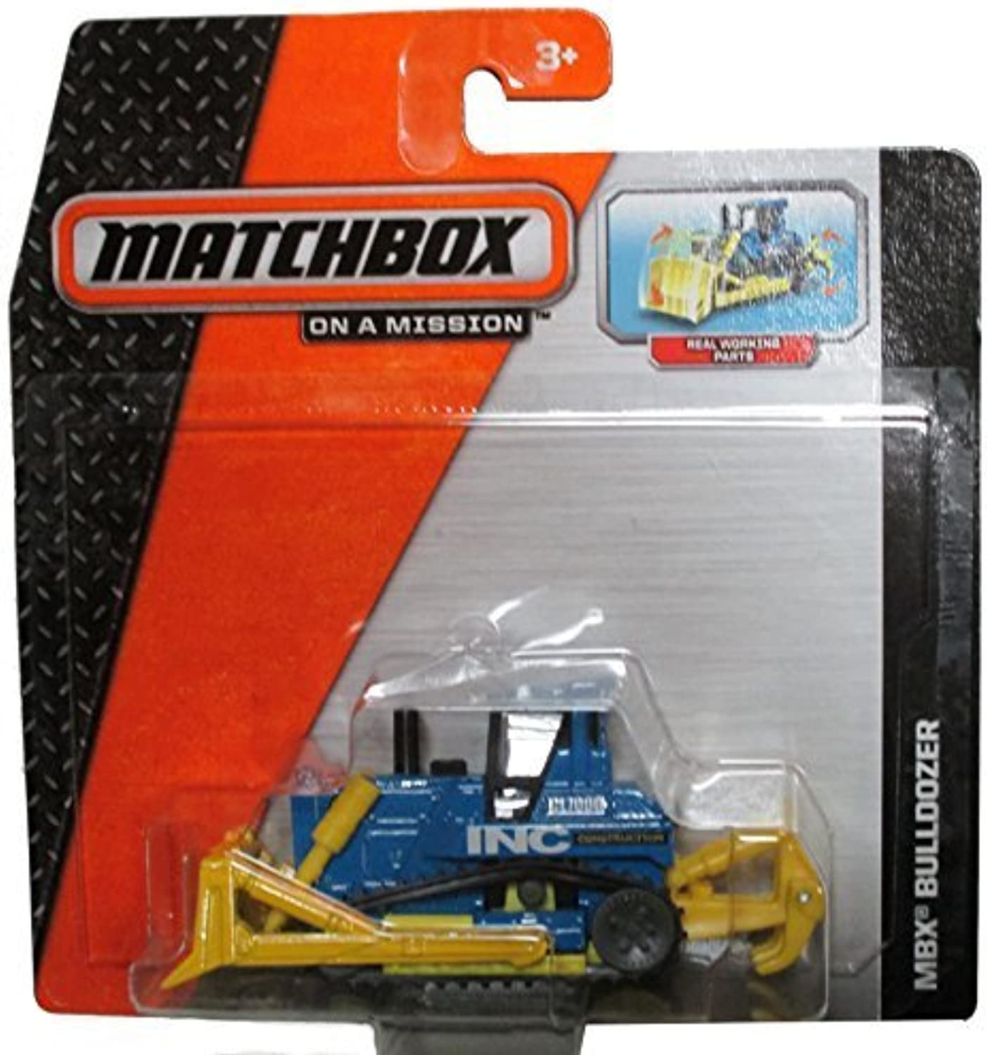 Matchbox 2014 On a Mission  Yellow bluee Mbx Bulldozer  Has Real Working Parts by Matchbox