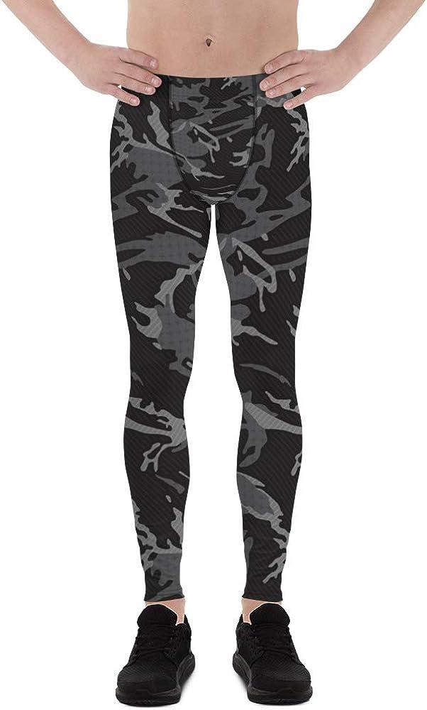 Satori_Stylez Black Camo Leggings for Men Printed Camouflage Pattern Print Workout Pants Meggings