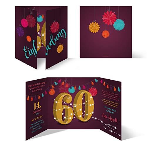 30 x Runder 60. Geburtstag individuelle Einladungskarten Einladungen - Girlande