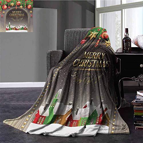 Fleece Twin Size Blanket,Christmas Decorative Blanket Classic Rustic Design Season Greetings Golden Colored Letters Village Ornaments All Season Use Multicolor