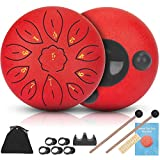 Steel Tongue Drums 11 Notes 6 inch Musical Drum, Metal Hand Drum Percussion Instrument with Drum Mallets,Finger Picks, Carry Bag,Great Gift for Beginner Adult Kid (6 inch, Red)