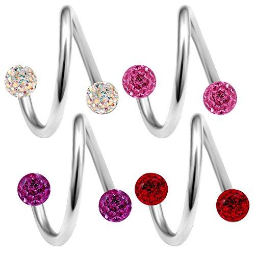 bodyjewelrytrend 4 Stück spiralen Piercing spirale 1,2mm 10mm augenbrauenpiercing Helix Tragus schmuck Cartilage Ohr kristallkugel - E5UCA