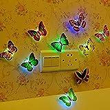 Hosaire 5Pcs Colores cambiante LED Parpadea Mariposa Noche luz Luces Decorativas 3D Pegatinas Casa Decor