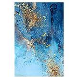HYY-YY Moderno Abstracto Azul mar Arena Dorada Lienzo Arte de la Pared impresión del Cartel Pintura Cuadro Cuadros para la decoración de la Pared de la Oficina Viva 23.6'x 31.4' (60x80cm) sin Marco