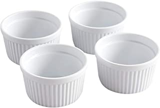 Cinf Ramekins 14 oz Pudding Cup Baking Cup Bowls Dishes, Set of 4,Souffle Cups Dishes, Dipping Sauce,Creme Brulee, Custard...