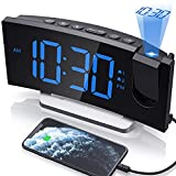 Clock Radios, WELLBOX Projection Alarm Clock with 0-100% Dimmer and FM Radio, Dual Alarm, 5 Selectable Alarm Sounds and 3-Level Volume, USB Charger, Large and Clear Readout Alarm Clock for Bedroom