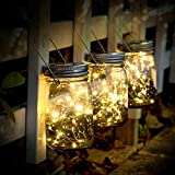 Solar Mason Jar Lights - 3 Pack 30 LED Starry Fairy String Solar Garden Hanging Lights Waterproof Indoor/Outdoor Decorative Lights for Courtyard Wedding Party Christmas (Warm White)