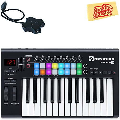 Novation Launchkey 25 Keyboard Controller Bundle with USB Hub and Austin Bazaar Polishing Cloth