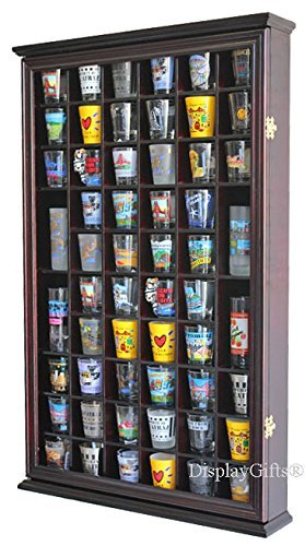 56 Shot Glass Shooter Display Case Holder Cabinet Wall Rack with DOOR (Cherry Finish)