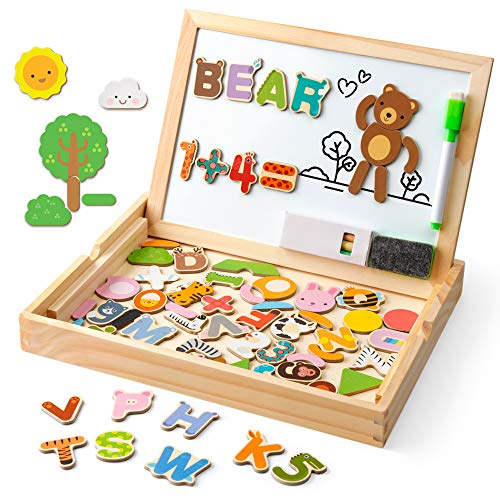Coogam Wooden Magnetic Letters Numbers Animals with Easel Board